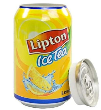 Blikje Lipton ice tea met een gat en een dop